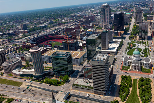 MAY 16, 2019, ST LOUIS, MO., USA - View from Gateway Arch of St. Louis skyline and Busch Stadium