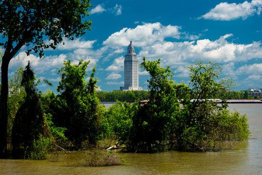 4/29, 2019, BATON ROUGE, LA, USA -  Baton Rouge, Louisiana Skyline and State Capitol on Mississippi River