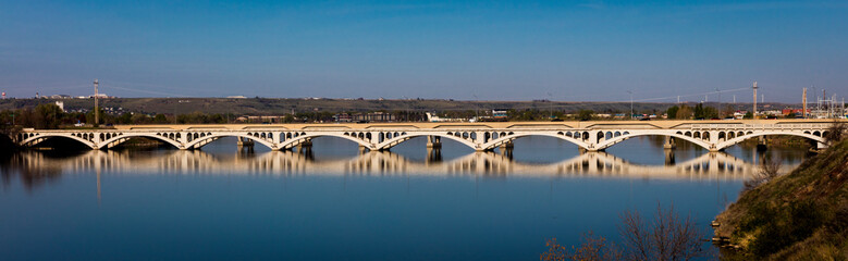 MAY 23, 2019 - GREAT FALLS, MONTANA, USA - Arched Bridge over Missouri River, Great Falls, Montana, USA