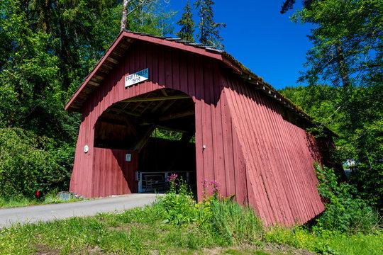 MAY 29, 2019, OREGON - Drift Creek Covered Bridge, Oregon, Built 1914 - Lincoln County near Bear Creek Road
