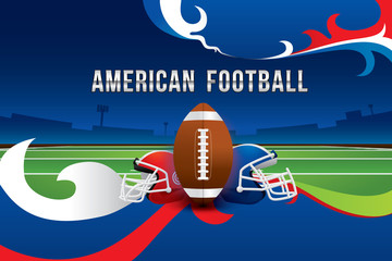 Vector of American football design with field background.