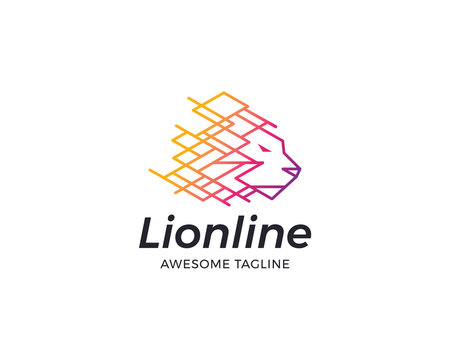Lion line logo design
