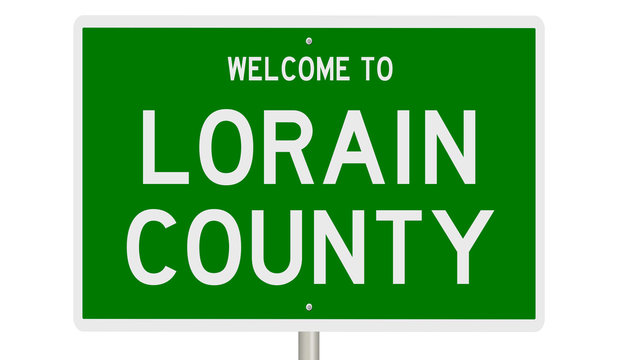 Rendering of a green 3d highway sign for Lorain County