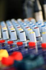 set of audio mixer