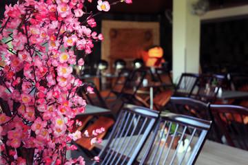 sakura flowers in the restaurant