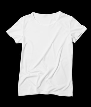 Front side of a white t-shirt on a black background. Mock-up. Cut background.