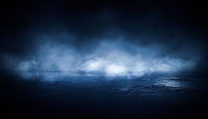 Fotomurales - Background of empty dark room, street. Concrete floor, asphalt, neon light, smoke, spotlight
