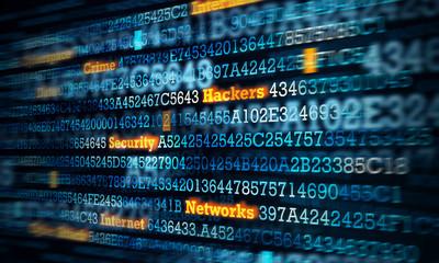 Computer hacking concept . Mixed media Fotobehang