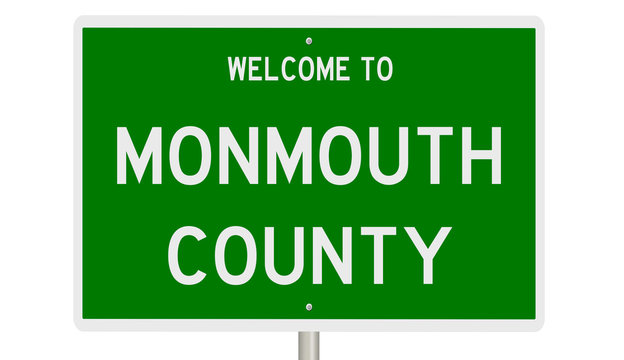 Rendering of a green 3d highway sign for Monmouth County