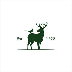 classic logo, silhouette deer logo, vintage logo