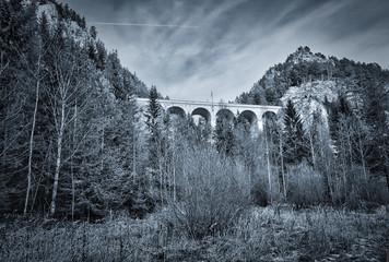 Photo sur Plexiglas Gris Viadukt, Landschaft,Architektur