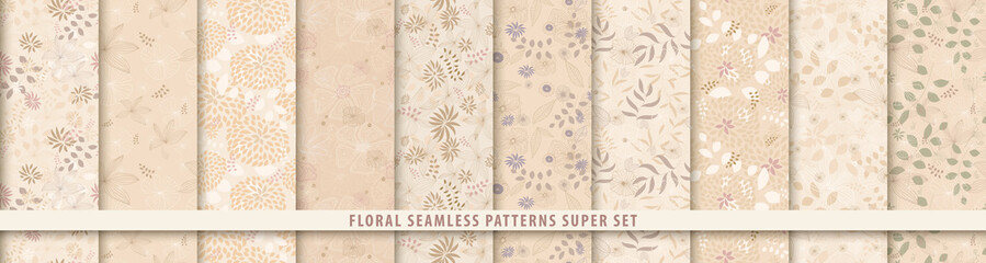 Floral seamless sepia pattern set. Flowers and leaves.. Beige vector background. Fabric and textile print