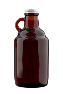 Amber Farmhouse Growler Bottle with Liquid. 3D Render Illustration Isolated on White Background.