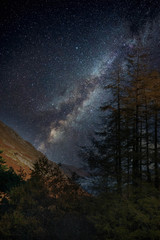 Foto op Plexiglas Zwart Stunning majestic digital composite landscape of Milky Way over Hallin Fell in Lake District