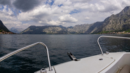 Panorama of the Bay of Kotor from the boat