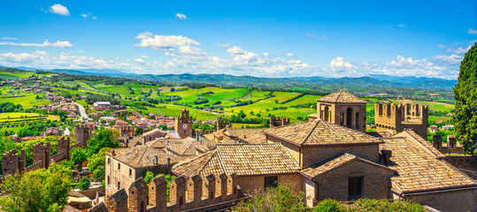 Gradara medieval village view from castle, Pesaro and Urbino, Marche region, Italy Fotomurales