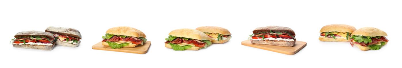 Photo sur Aluminium Snack Set of delicious sandwiches on white background. Banner design