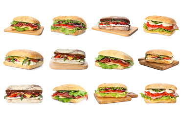 Foto op Plexiglas Snack Set of delicious sandwiches on white background