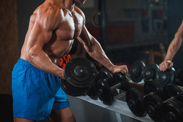 Athlete trains biceps muscles with a dumbbell. Workout in the gym, healthy lifestyle.