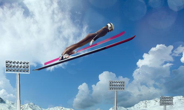 Skier in flight. Ski jumping sport.
