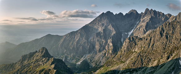 Acrylic Prints Pale violet Mountain range sunrise, Jahnaci peak High Tatras Slovakia