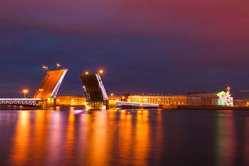Wall Murals Crimson Saint Petersburg. Night drawbridge