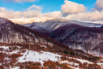 beautiful winter landscape in mountains. afternoon scenery of Uzhanian National Nature Park, ukraine. leafless forest on snow covered slopes. dramatic weather with cloudy sky