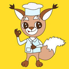 Aluminium Prints Wild West emoticon with gourmet squirrel dressed in chef uniform, that standing, with great pleasure & showing italian bellissimo gesture, color vector clip art on yellow isolated background