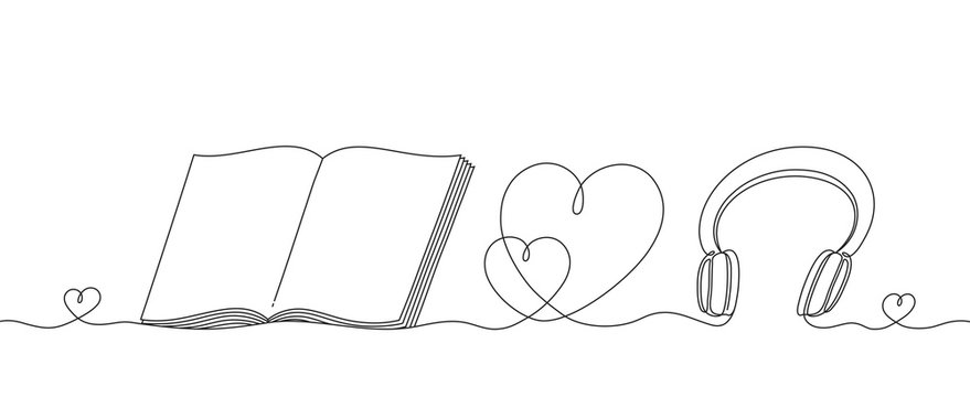 Headphones and an open book with a heart, a continuous linear pattern. Musical instrument for listening music and a educational subject for reading