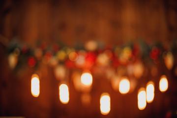 Defocused or blurred christmas lights background bokeh