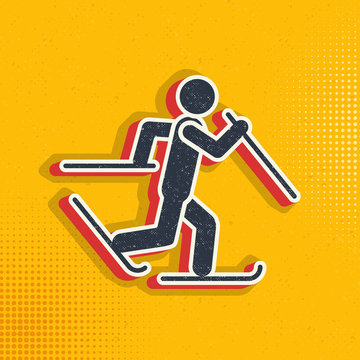 Skier skiing pop art, retro icon. Vector illustration of pop art style