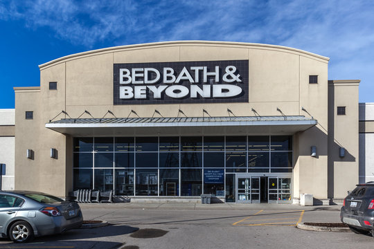 Richmond Hill, Ontario, Canada - February 24, 2018: A Bed Bath & Beyond storefront, an American chain of retail store sell goods primarily for the bedroom and bathroom, kitchen and dining room.