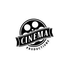 negative film reel stripes or roll tapes for movie cinema video logo