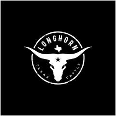 Texas Longhorn, Country Western Bull Cattle Vintage Label Logo Design