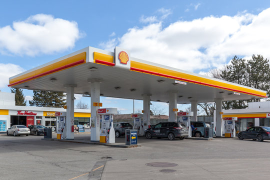 Toronto, Canada- March 11, 2018: Shell gas station.  Shell Canada Limited is the subsidiary of Anglo-Dutch Royal Dutch Shell and one of Canada's largest integrated oil companies.