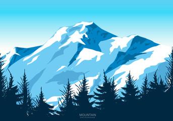 Fotorollo Pool Wild mountain landscape illustration design