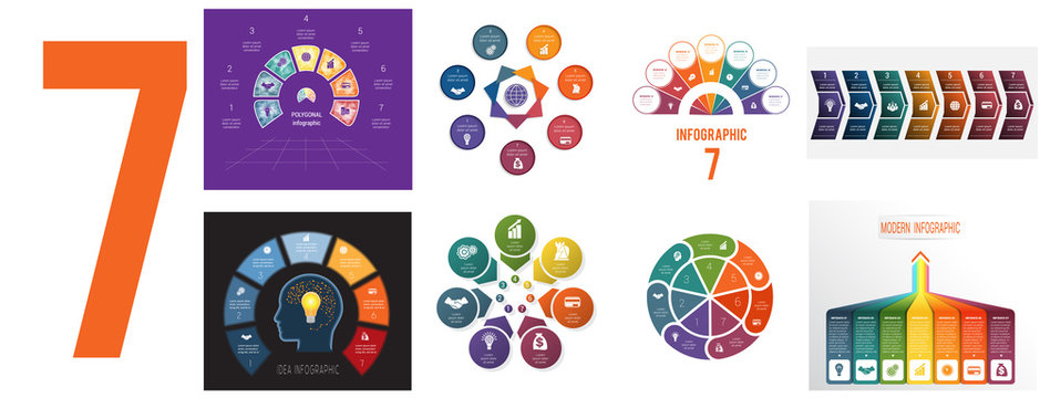 Set 8 universal templates for Infographics conceptual cyclic processes for 7 positions possible to use for workflow, banner, diagram, web design, timeline, area chart,number options