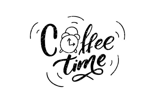 Handwritten Coffee time lettering. Drawn art sign