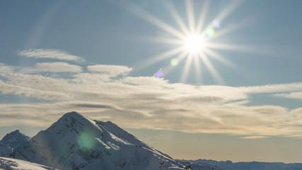 Foto op Canvas Donkergrijs Rosa Khutor ski resort. Mountain landscape of Krasnaya Polyana and sun shining, Sochi, Russia.