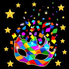 Poster Draw Harlequin Mask Mardi Gras Carnival Colorful Costume and Confetti Vector Illustration
