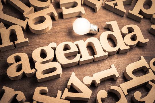 Agenda Wood Word