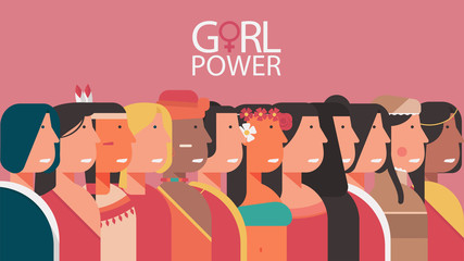 woman power concept, character of diversity young girls, feminist, female and lady for poster, banner, card and landing page vector flat illustration