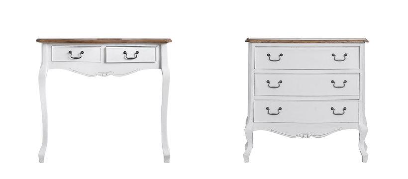 table white dresser isolated on white background vintage