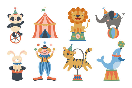 Cute circus animals and clown character design.