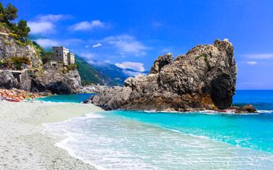 Italian summer holidays - Monterosso al Mare with beautiful beaches. Liguria, Cinque terre