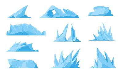 Glaciers. Icebergs, ice mountains and compressed snow, freezing ocean landscape and melting sea rock. Vector illustrations iceberg set, like freeze water or crystal ice in ocean