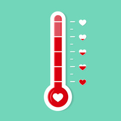 Thermometer gauge lobe of heart. Romantic goal icon. Heat level of love. Temperature scale for card. Degree of progress heart. Thermometer or thermostat icon. Valentines day vector illustration