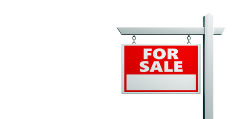 For sale wooden placard. Real estate text sign red color isolated on white. 3d illustration