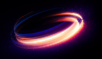 Glow swirl light effect. Circular lens flare. Abstract rotational lines. Power energy element. Luminous sci-fi. Shining neon lights cosmic abstract frame. Magic round frame. Swirl trail effect. Glint