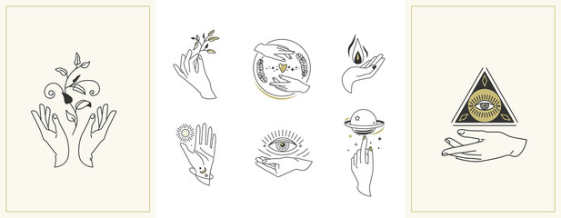 Hands set in simple flat esoteric boho style. Feminine hand logo collection with different symbol like space star planet, floral herb, moon and sun, heart love, eye, fire, drop Wall mural